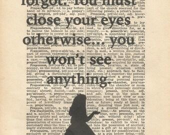 Close your eyes alice in wonderland vintage print