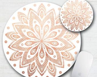 Rose Gold Mandala Mouse Pad Coaster Desk Set, Fabric Mouse Pad, Desk Set, Office Set, Boho Chic, Mandala Art, Cubical Art, Stylish Mouse Pad