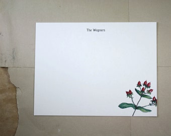 Hypericum Berry Custom Stationery Notecards, Red Berry Stationery. Thank You, Any Occasion, Personalize Watercolor Print, Set of 10.
