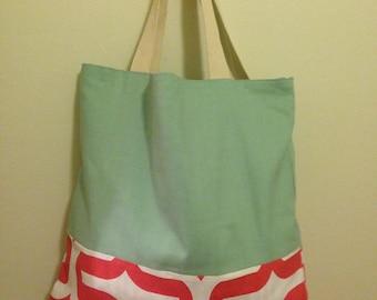 Mint, Coral tote bag, Handmade tote, large tote, canvas bag, boho bag, gift, gift for mom, beach bag, boho chic, teacher, artist