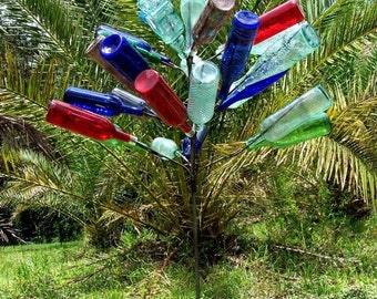 Big 28 BOTTLE TREE Garden Art Lawn Wine Decor Stake USA