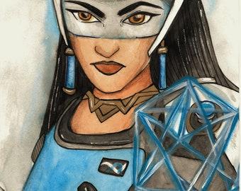 Overwatch Symmetra| Blue Watercolor Illustration