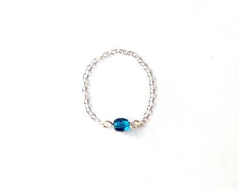 Ring Silver 925 with fire-polished turquoise bead chain