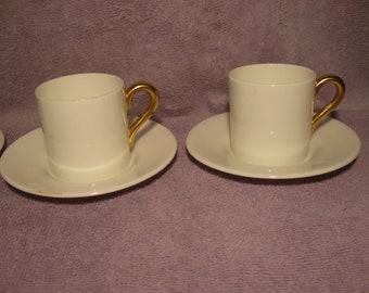 Vintage Coalport Demitasse Cup and Saucer Sets    Four Expresso Cups and Saucers   Vintage Bone China Demitasse   White Gold Trim   England