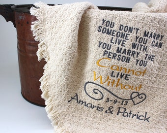 2nd Anniversary Cotton Gift Personalized | Embroidered Throws and Blankets |  Unique Cotton Gift  | Anniversary Gift | Second or Wedding USA