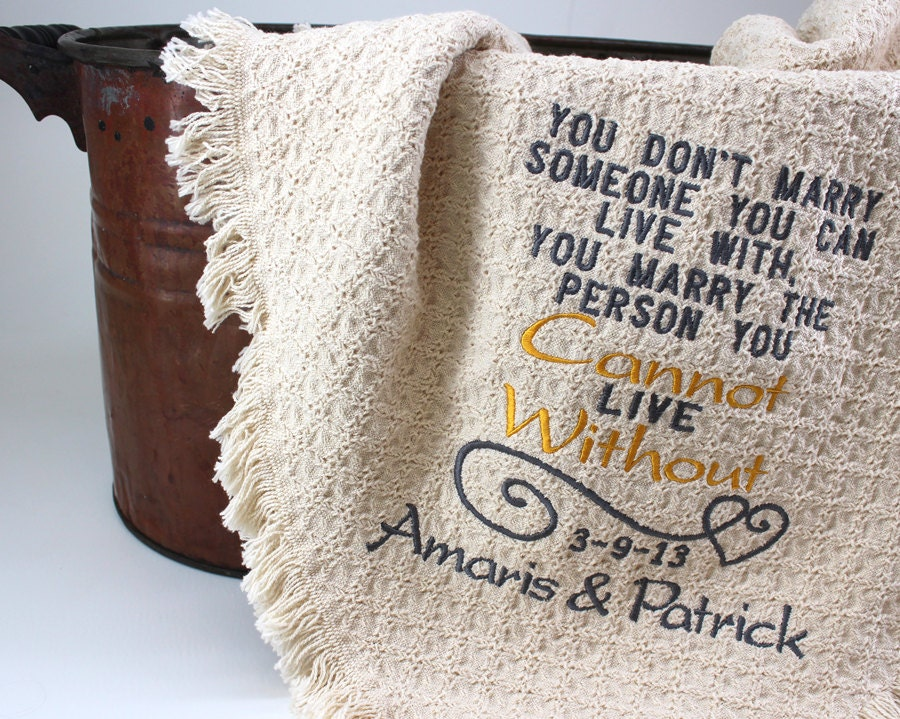 2nd Wedding Anniversary Cotton Gifts: 2nd Anniversary Cotton Gift Personalized Embroidered Throws