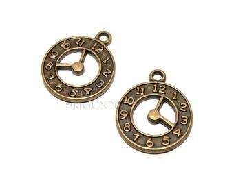2 pendulum charms bronze clock M01832 02 pendant 21mm