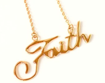 Clearance sale Faith handwriting 10k gold plated necklace LAST ONE