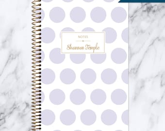 NOTEBOOK personalized journal | lined notebook | personalized gift | stocking stuffer | spiral notebook | lavender purple gold polka dots