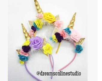 Unicorn Horn Flower Headband