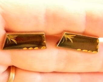 Foster Gold Tone Metallic Brown/Bronze Etched Cuff Links