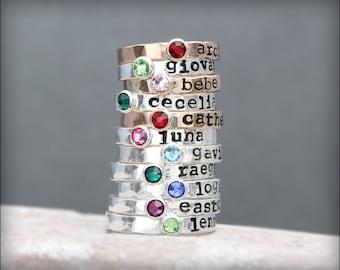 Hand Stamped BIRTHSTONE stacking RING - birthstone ring, kids name ring, gold, rose gold, posey, mother's ring, hand stamped stacking ring