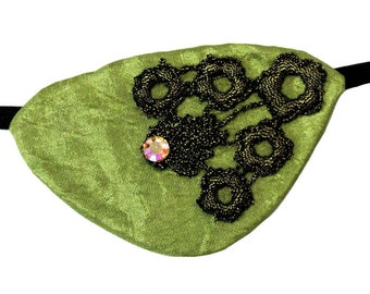 Eye Patch Olive Splendor Rhinestone Victorian Steampunk Pirate Fantasy Fashion Lace
