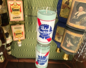Vintage Pabst Glass with a Soy Lemon Eucalyptus Candle
