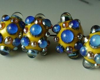 Lampwork beads/SRA lampwork/beads/Double Helix/silver glass/ivory/blue/metallic/