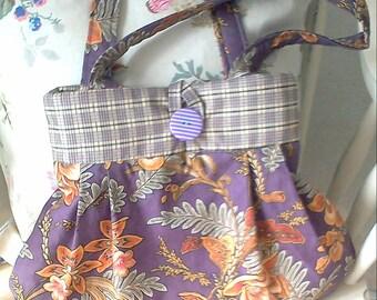 Pretty Purple Floral Print Bag, handbag, shopping bag