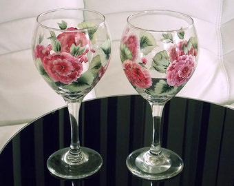 Set of 2 Hand Painted Wine Glasses Pink Hydrangeas Green Leaves Hand Painted Glassware Stemware Painted Glass Custom Personalized Wedding