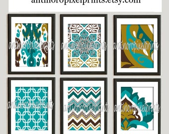 Ikat Digital illustration Wall Art - Set of 6 - 8x10 Prints - Featured in Turquoise Brown (UNFRAMED)