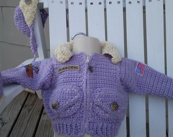Lil Girl Bomber Jacket Aviator Cap and Flight Booties