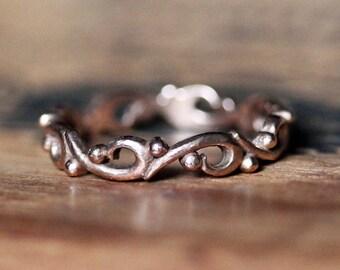 Rose gold wedding band women, rose gold wedding ring, handmade wedding bands, vintage wedding band, swirl ring, ocean wave ring, custom