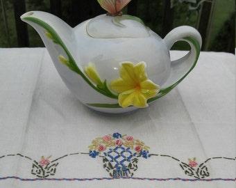Butterfly Promenade Beautiful Hand Painted Figural 4-Cup Teapot; Vintage Teapot, Vintage Figural Teapot, Butterfly Teapot, Lily Teapot