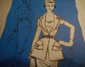 Vintage 1950's Mail Order Prominent Designer Nat Kaplan M414 Dress and Tunic Sewing Pattern Size 14 Bust 34