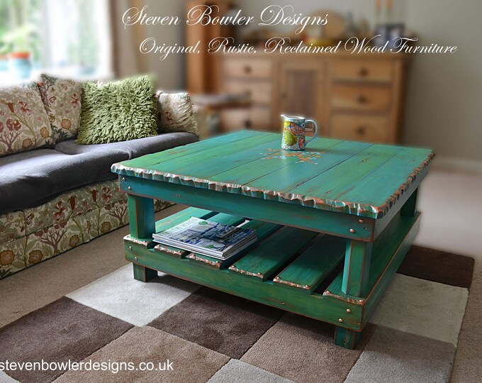 FREE UK SHIPPING Country Cottage Rustic Reclaimed Wood Coffee Table with Handpainted Flower Design Copper Edging Tacks Under Shelf Storage