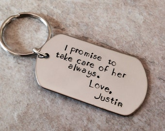 I promise to take care of her always mother in law father in law keychain personalized keychain hand stamped custom monogrammed wedding gift