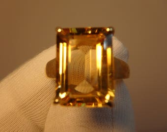 Citrine 9ct Gold Emerald Cut Ring 6.05 cts