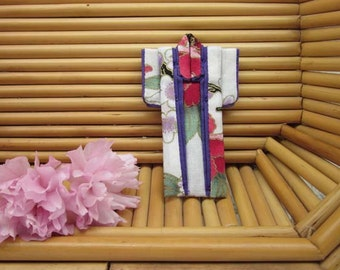 """PIN Cotton Origami Kimono Pin: """"Peony Plum Blossom."""" 3 inches tall. Rose Red, Lavender, Purple. Wear it. Hang It. Frame It."""