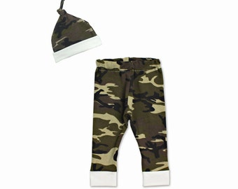 Newborn Boy Coming Home Outfit - Camouflage Print - Newborn Boy - Pants and Hat Set