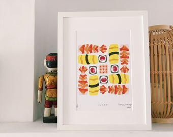 Bento Box Sushi Ilustration Art Print, Limited Edition (framed and unframed options available)