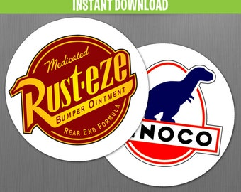 Disney Cars Rust-Eze and Dinoco 2.5 in Birthday Circle Labels - Instant Download - Print with Adobe Reader