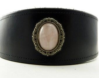 Black Adjustable leather martingale collar with rose quartz cabochon  *SALE*