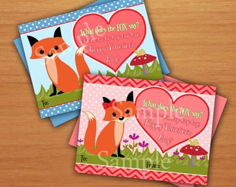 What Does The Fox Say Valentine Cards  DIY Instant Download