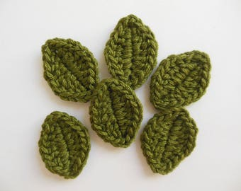 Crocheted Leaves - Loden Forest - Wool Leaves - Crocheted Leaf Appliques - Crocheted Leaf Embellishments - Set of 6