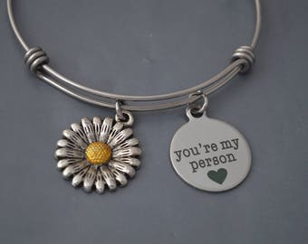 """Friendship Bracelet Gift, Gift For Women, Grey's Anatomy, Gift For her, Quote """"You're My Person"""" Custom Daisy Design, Friendship Bangle"""