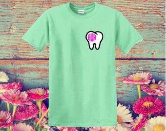 Monogrammed Tooth shirt SHORT sleeve shirt in ADULT sizes, dental, dentist, dental assistant, teeth