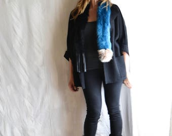 Fur Neck Scarf in Azur Blue Black and Ecru Toscana Shearling - Scarlet also available - Ready to Ship
