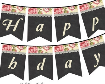 Shabby Chic Chalkboard Happy Birthday Banner, Instant Download, DIY, Print your own