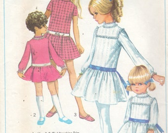 1960s Simplicity 7921 Girls DRESS Pattern Drop Waist Childs Toddlers Vintage Sewing  Pattern Size 4 Breast 23 UNCUT