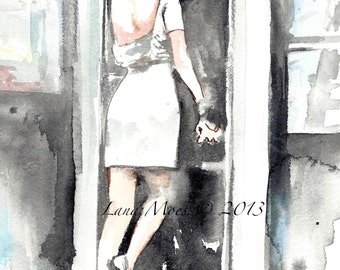 Love Romance Kiss Art Print from Original Watercolor Painting - Romantic Bliss Collection by Lana Moes