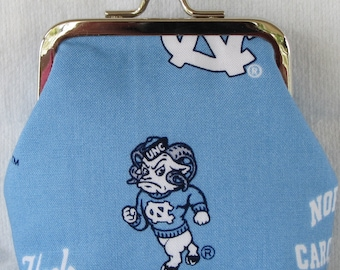 UNC Tarheel North Carolina Nickel Kiss Clasp Coin Purse with the Ram