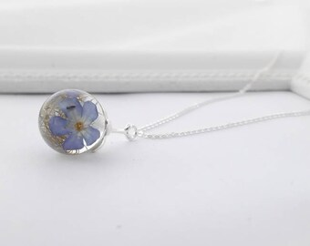 Genuine Forget flowers 925 sterling silver and chain 45 cm (9940/45/925/V/b-ware)