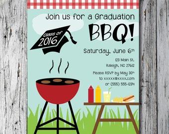 Printable customized Graduation BBQ invitation
