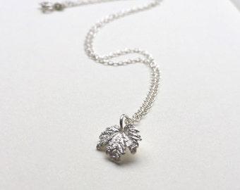 Maple leaf necklace maple leaf pendant silver leaf necklace - nature jewellery