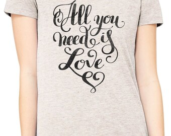 Austin Ink Apparel Slim Fit All You Need is Love Soft Triblend Short-Sleeve T-Shirt