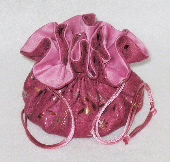 Jewelry Tote---Organizer Pouch---Pink With Gold Foil---Soft Suedecloth---Regular Size