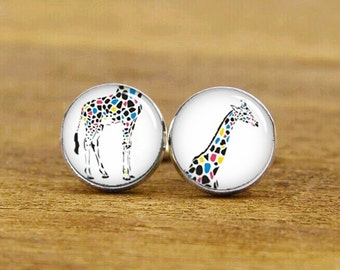 Giraffe Cufflinks, Colorful Giraffe Cufflinks, Custom Cufflinks, Wedding Cufflinks, Groomsmen, Groom Cufflinks, Tie Clip Or A Matching Set