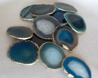 Set of 2+, 8-10cm Green Blue Agate Stone Coasters with Gold edge-set of 2, 4 or 6 home decor